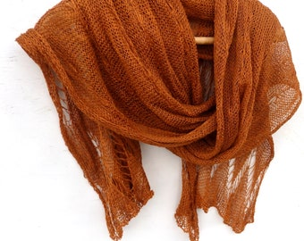 Scarf, knitted brown linen scarf, knit wrap, knitting flax shawl, lace scarf, natural linen scarves, brown shawl, wedding scarf, accessories