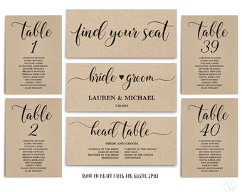 printable rustic wedding seating chart template kraft