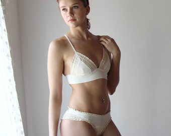 organic cotton panties with cotton lace trim - HESTER - sleepwear and lingerie range - made to order