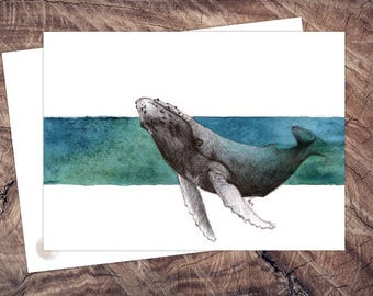 Whale-postcard illustration A6, printing on recycled paper, eco, climate neutral