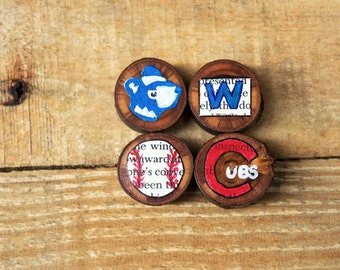 Chicago Cubs Rustic Magnets - Icons of the Chicago Cubs Refrigerator Magnet Set of 4 - Decoupage Magnets
