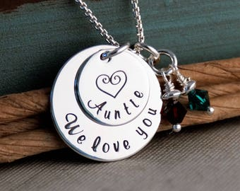 Personalized Custom Jewelry - We love you 'Auntie' - Sterling Silver Hand Stamped necklace - Auntie Necklace