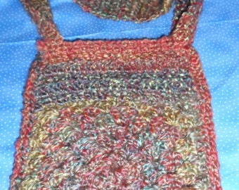 Crochet shoulder bag, book bag, granny square, Homespun, lined, cross body, paperback book size, lunch tote,