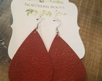 Rust color Leather Tear Drop earrings