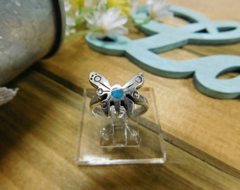 Sterling Silver Turquoise Butterfly Ring Size 5.5