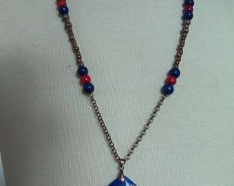 Necklace earthy coral and Lapis Lazuli