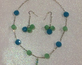 Blue and Green Glass Stone Bead Necklace and Earrings Jewelry Set