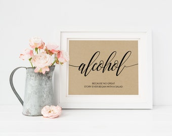 Wedding Sign Template | Alcohol Sign | Wedding Sign | Printable Wedding Sign | 5x7 & 8x10 | EDN 5390