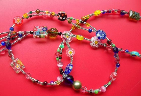 OOAK Necklace Beaded Tassel Millefiori Boho Necklace, Long Lariat Over the Head Necklace, Kaleidoscope
