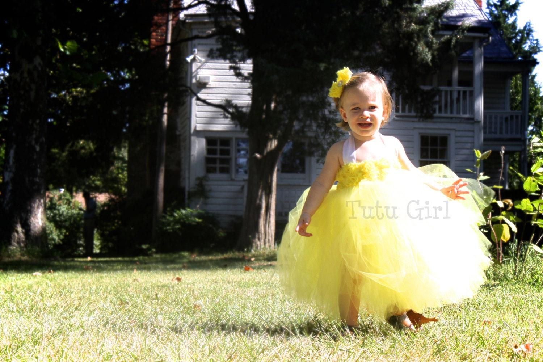 Yellow Tutu Dress Flower Girl Dress Lemon Yellow Toddler