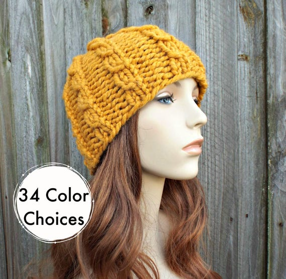 Chunky Knit Hat Mens Hat Womens Hat - Cable Beanie in Yellow Mustard Knit Hat - Mustard Hat Mustard Beanie Winter Hat - 34 Color Choices