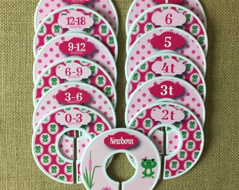 Cute frog Closet Dividers in pink, Baby Shower Gift, Newborn Baby Gift, Baby Girl Gift, Infant, Toddler, Child, size dividers