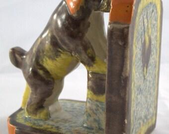 Book-Support book-backed dog-barrels run glaze Art Deco market Vintage Antique