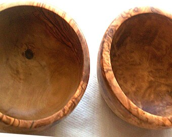 Christmas gift- christmas present - 2 Olive wood soup bowls set 5.51 inch