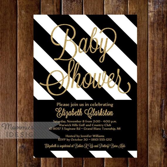 Gold Glitter Baby Shower Invitation Black White Stripes