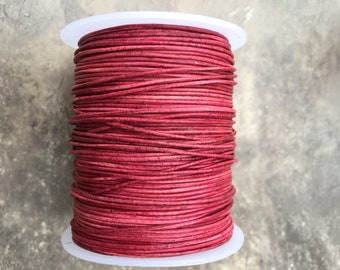 2mm Pink Fucshia Leather Round Cord - Distressed Pink Finish