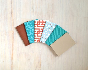 Notebooks: Tiny Journal Set of 6, Blue, Rust, Wedding, Favors, Stocking Stuffer, For Her, For Him, Gift, Unique, Mini Journals, Kids, T064