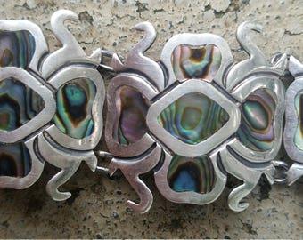 Vintage Taxco Sterling and Abelone Shell Five-Panel Bracelet. Eagle Mark. Signed.