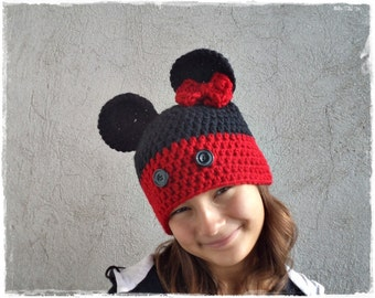 Crochet mouse hat, Baby mouse hat, Kids mous hat, Maus hat,  All sizes