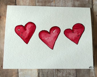 Watercolor Heart  Card, Hand Painted Heart Card, Love Cards
