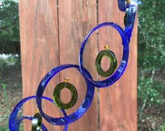 blue, green, GLASS WINDCHIMES - RECYCLED bottles,  wind chime, garden decor, wind chimes, home decor, soothing music
