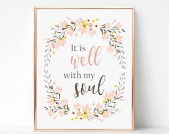 It Is Well With My Soul Print - Hymn Wall Art Print - Hymn Art - Christian Gift Wall Art - Inspirational Quote - Encouraging Art