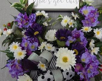 Front Door Wreath, Summer thru Fall Wreath, Purple hydrangea, White daisies, One of a kind