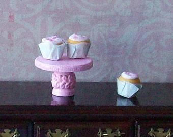 Pink Dollhouse Miniature Dessert Stand - Cupcake Plate - Cake Plate - Shabby Chic