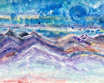 Rainbow Mountains Original Watercolor framed painting by Amy Drago