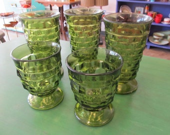 Vintage Set of 5 Green Indiana Glass Whitehall Footed Geometric Tumblers and Juice Glasses