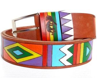Genuine Leather Belt, Hand painted, Kokopelli Leather Waistband, Men Women Belt, Customized Genuine Leather Strap.