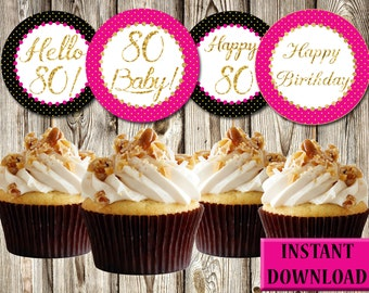 80th Birthday Cupcake Toppers, Elegant, Cheerful, Dark Pink, Black and Gold, Labels, Party Favors, Printable, Instant Download, PDF