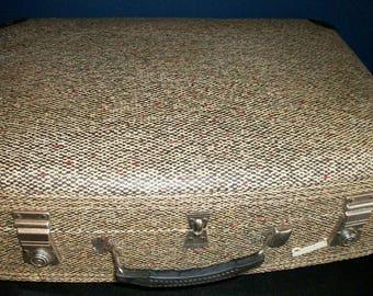 "Vintage Carousel Hardshell ""English Tweed"" Suitcase"