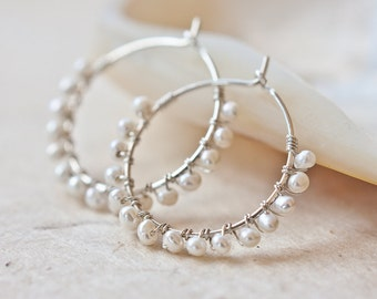 Hoop Earrings White Pearls Argentium Sterling Silver wire wrapped june birthstone wedding bridal fashion