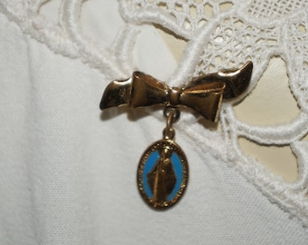 Vintage Virgin Mary bow brooch pin  beautiful blue bow pin Virgin Mary vintage pin brooch