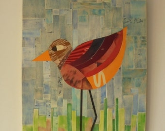 BIRD, reclaimed wood collage