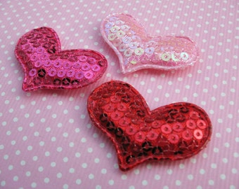 """60 Padded 1.5"""" Sequin Heart Appliques/hair -3 Colors"""