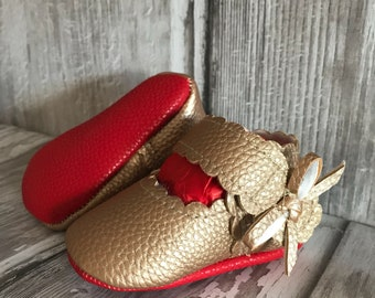 Bronze Red Sole Baby, Red Bottom Mary Jane Baby Pram Shoes - Like Mummy's Louboutins but Designer Inspired! Louboutin Baby!