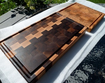 End Grain Patchwork Walnut and Maple Chopping Blocks