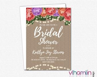 PRINTABLE Bridal Shower Invitations - DIY Wedding Shower Invitation - Bridal Party Invitations   Parchment Roses & Sparkles