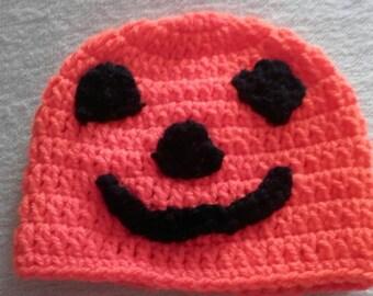 Halloween pumpkin hat, crochet pumpkin hat,  baby pumpkin hat, ready to ship