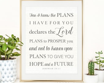 """16x20 - """"For I Know the Plans I have for You..."""" Wall Art - JPEG Digital File - Instant Download - You Print- You Frame"""