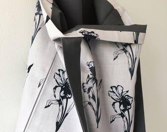 Iris Print Fabric Tote Bag