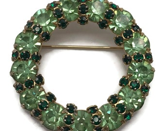 Vintage 1960s Joseph Warner Prong Set Rhinestone Wreath Brooch Pin Signed