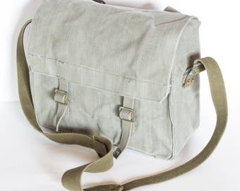 Grey School Bag, Canvas Messenger Bag, Vintage Military Distressed Crossbody Bag, Military Messenger Bag, Handbag, Student Bag