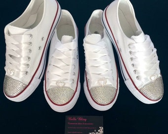 Wedding bridal customised trainers converse style, crystal, bling, personalised made to order