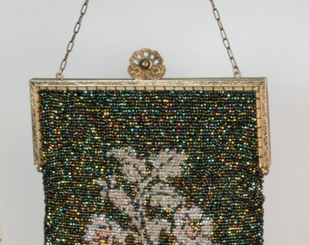 Black Beaded Bag with pink flowers