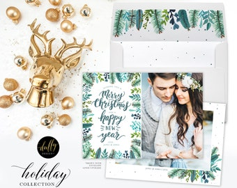 Christmas Photo Card, Holiday Photo Card, Photo Christmas Card, Rustic Holiday Card, Christmas Card 5x7 Holiday Card- blue Green  TWO  SIDED