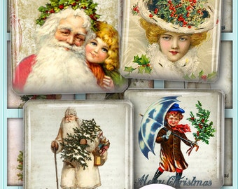 Victorian Christmas Images Digital Collage Sheets 1 inch and 1.5 inch Square Scrabble Tiles Printable Download Images for Pendants