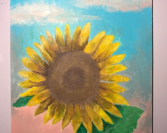 realistic sunflower painting